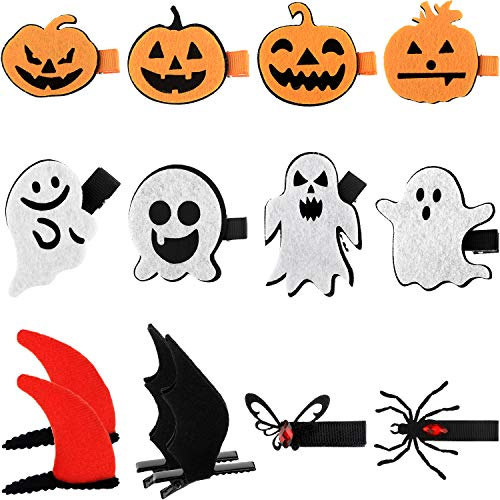 Funny Halloween Cartoon Clips (14 Pieces Halloween Cartoon Hair Clips Pumpkin Bat Wing Hairpins Hair Accessories for Halloween)