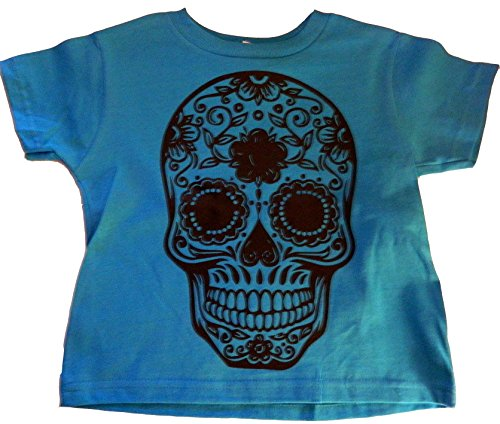 Custom Kingdom Little Boys Mexican Sugar Skull T-shirt (18 Months, Teal Blue) (Boys Sugar T-shirt)