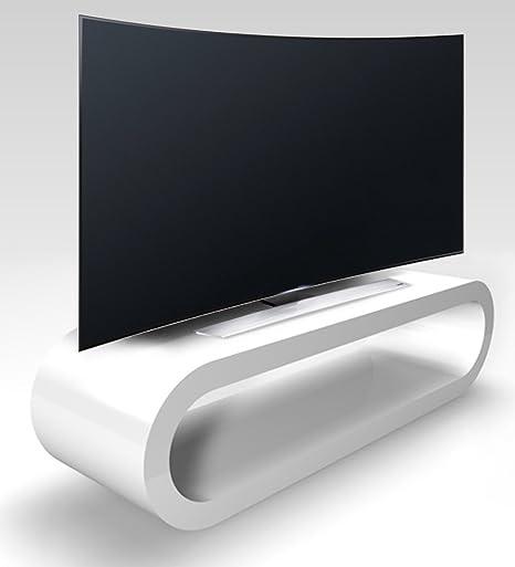 Zespoke Aro de Estilo Retro Gran Blanco de Alto Brillo Soporte TV/Gabinete de Ancho 110cm: Amazon.es: Hogar