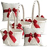 Roman Store Ivory Ring Bearer Pillow and Basket Set   Lace Collection   Flower Girl & Welcome Basket for Guest   Handmade Wedding Baskets & Pillows (Scarlet RED)