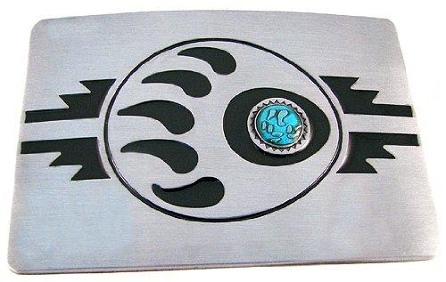 Southwestern Style Bear Claw Belt Buckle Matte - Claw Silver Bear