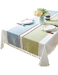 Rectangular Nordic fresh color matching linen tablecloth thick original restaurant(5586)