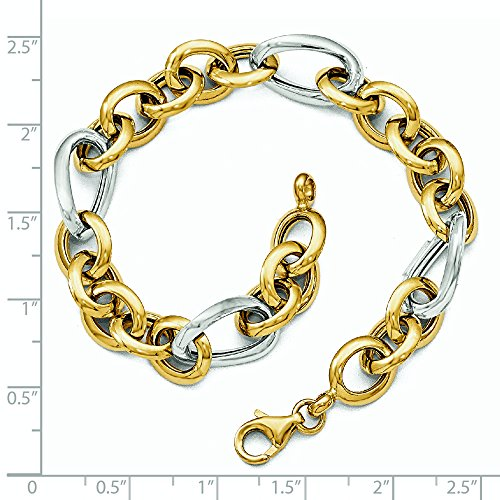 Or bicolore 14Ct Fancy-Bracelet Femme-Lien Poli 20cm