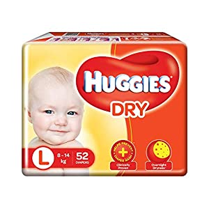 Huggies New Dry, Taped Diapers, Large Size (8 – 14 kg), 52 Count