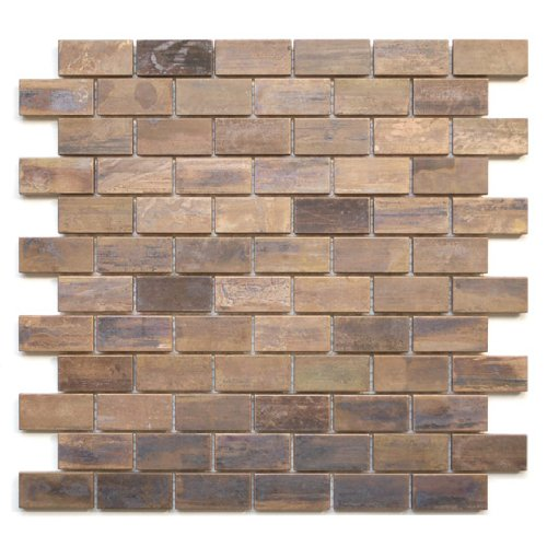 Medium Brick Antique Copper Mosaic Tile - Kitchen Backsplash/Bath Backsplash/Wall Decor/Fireplace Surround