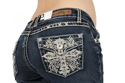 SEXY COUTURE Women's 446-PB Cross Medium Wash Denim Cross Boot Cut Jeans 3-17 - Waist 3