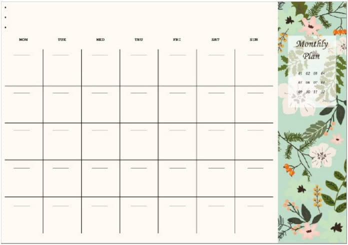 Creative Tear Off Flower Desktop Schedule Book Monthly Planner Pads (A)