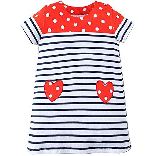 (Little Girls Dress Cartoon Cotton Kids Summer Dress Crew-neck (3T, Heart))