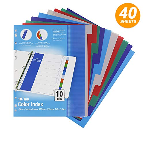 - 3 Ring Binder Dividers with 10 Insertable Color Tabs with Blank White Inserts Included for School, College, Kids and Adults - School Supplies, Office Accessories (Pack of 4) - by Emraw