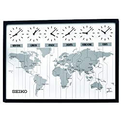 Seiko 24 Classic Six City World Time Wall Clock