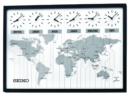 Multi Time Zone Clock (Seiko QXA538KLH Classic Six City World Time Wall Clock)