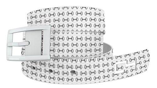 C4 Equestrian Belt: White Bits n Pieces Strap/White Buckle - Equestrian Horseback Riding Belt for Women