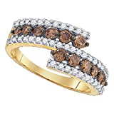Brown Diamond Spiral Band 10k Yellow Gold Cocktail Ring Chocolate Curve Style Polished Fancy 1.00 ctw