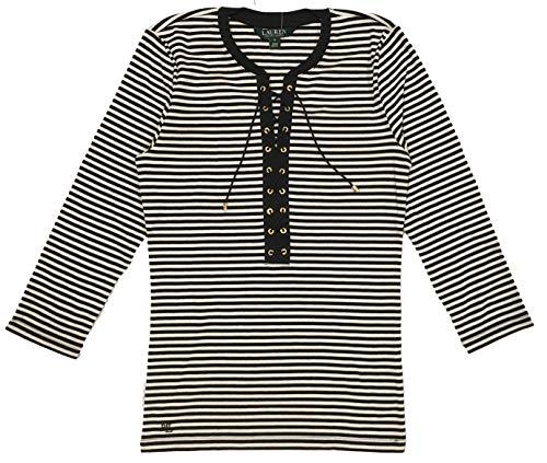 LAUREN RALPH LAUREN Lace-Up Striped Top (L, Black/Cream)