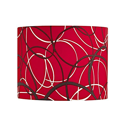 Red and Grey Drum Lamp Shade with Spider Assembly by Design Classics