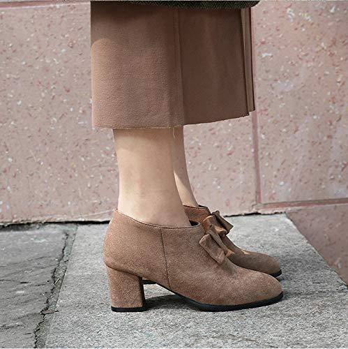 und High Dicke Mode Stiefeletten Damen Heels Fersen Stiefel Winter und Herbst HCBYJ vfqdOwv