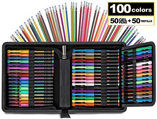 100 Count Glitter Gel Pen Set [Travel CASE Included] Notebook Bullet Journal Gel Metallic Pastel Refill Ink Nontoxic Adult Art Supplies for Coloring Book Drawing Doodling Craft [Artist Supplies]