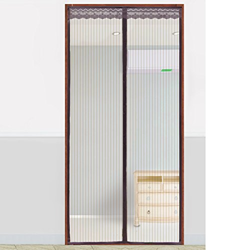French Drape - Screen door Mesh door curtain Fiberglass Magnetic Panel drapes Full frame Velcro French back Keep out of insects Summer-I 110x210cm(43x83inch)