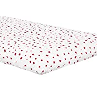 Zack & Tara Crib Sheet - Stars in Cerise on White