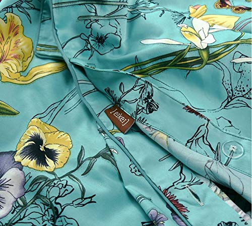Vintage Botanical Flower Print Bedding 400tc Cotton Sateen Romantic Floral Scarf Duvet Cover 3pc Set Colorful Antique Drawing of Summer Lilies Daisy Blossoms (King, Blue) from Eikei