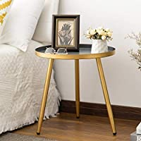 Aojezor Metal End Round Side Table or Small Spaces