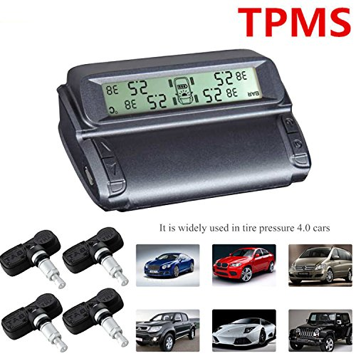 Fuel Monitoring System (TPMS - Car Tire Pressure Monitoring System HUD Digital Display 4 Built in Sensors Wireless Real Time Auto Pressure Alarm Automobile Safety Driving)