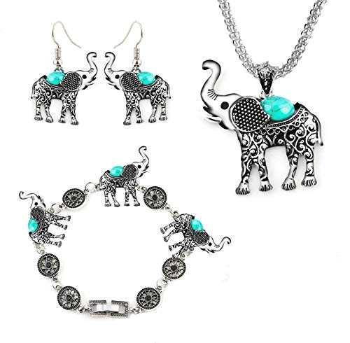 Miraculous Garden Womens Vintage Silver Ethnic Tribal Elephant Boho Pendant Necklace Drop Earrings Link Bracelet Jewelry Sets (Turquoise) (Turquoise Link Bracelet Set)
