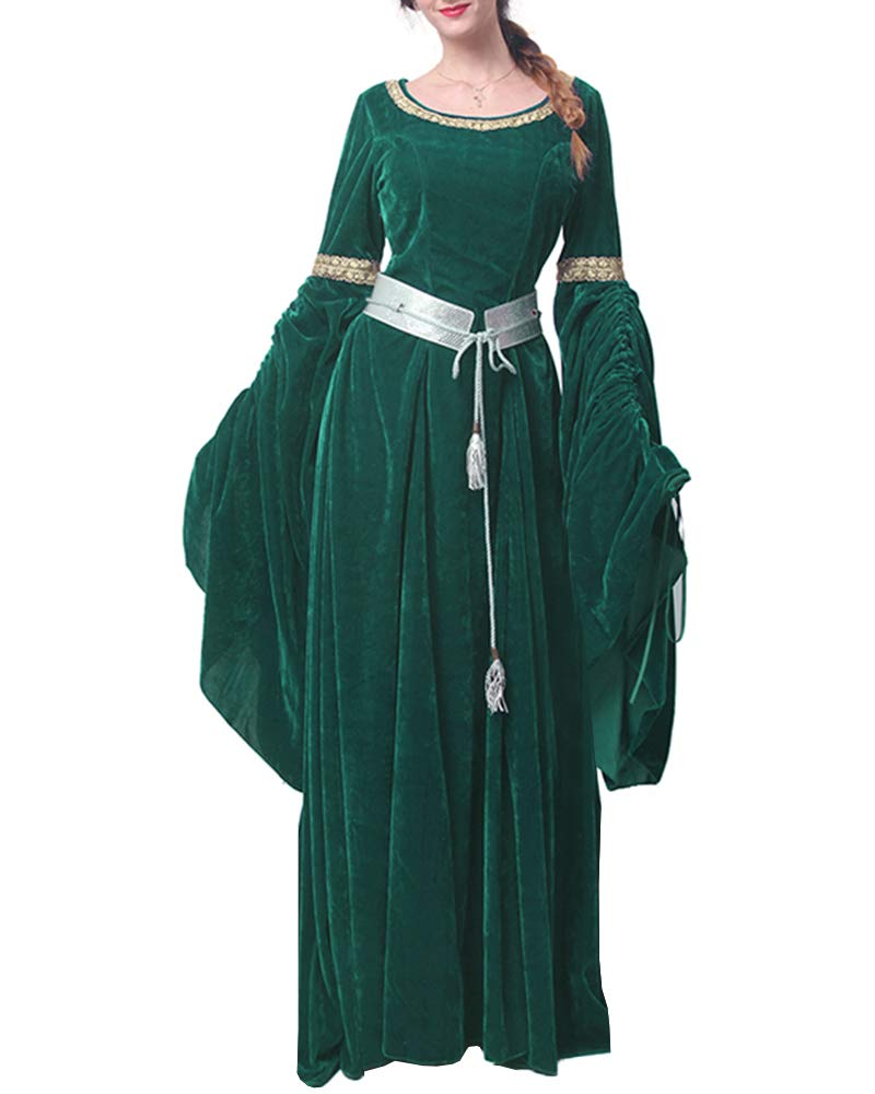 Youxiua Womens Renaissance Medieval Dresses Victorian Gown Cosplay Costume Retro Long Dress