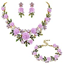 Ever Faith Crystal Simulated Pearl Rose Flower Leaf Necklace Earrings Bracelet Set Gold-Tone
