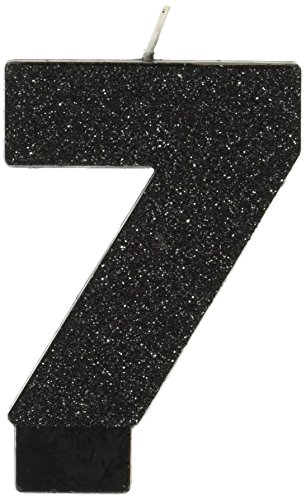"New Amscan 7 Birthday Glitter 3.25"" Numeral Candle Children's Party Supplies, Black"