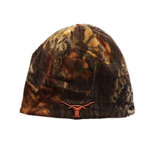 Skull Horn Camo (Texas Longhorns Reversible Camouflage Mossy Oak Skull Cap - NCAA Cuffless Camo Winter Knit Beanie Hat)