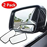 Square Blind Spot Mirror, 360° Rotate Adjustable Wide Angle Rear View Mirror HD Glass Convex Side View Mirror for All Universal Vehicles Car (Pack of 2)
