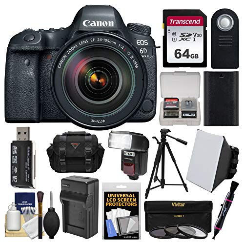 Canon EOS 6D Mark II Wi-Fi Digital SLR Camera & EF 24-105mm f/4L is II USM Lens + 64GB Card + Case + Flash + Battery & Charger + Tripod + Filters Kit