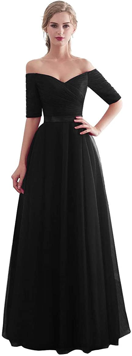 Beauty-Emily Half Sleeves Evening Dresses Long Bridesmaid Dress for Formal Party Tulle Prom Gown