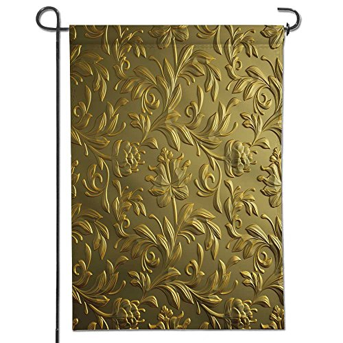 SCOCICI1588 Welecome Summer Garden Flag,gold floral backgr