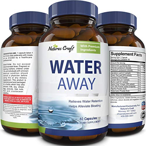 Water Away Pills and Diuretic Supplement - Diuretic Pills for Water Balance and Kidney Cleanse for Women and Men Infused with Dandelion Leaf Herbal Green Tea Extract Juniper Berry and Vitamin B6