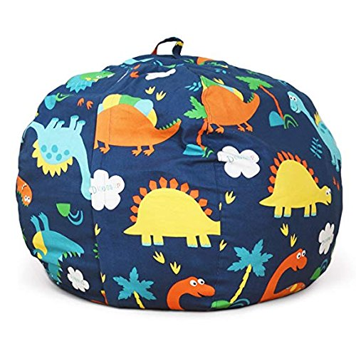 BROLEX 27'' Stuffed Animals Bean Bag Chair Cover-100% Cotton Canvas Kids Toy Storage Zipper Bags Comfy Pouf for Unisex Boys Girls Toddlar, Dinosaur Print by BROLEX (Image #1)