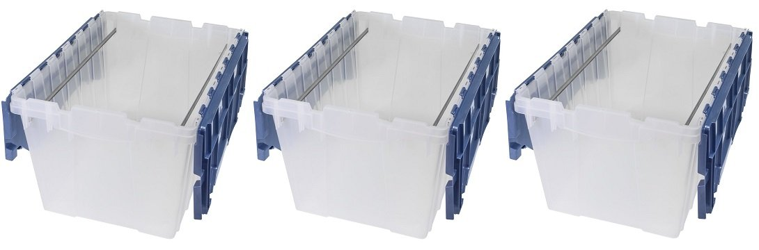 Akro-Mils 66486 FILEB 12-Gallon Plastic Storage Hanging File Box with Attached Lid, 21-1/2-Inch by 15-Inch by 12-1/2-Inch, Semi-Clear, Pack of 1 (3 PACK)