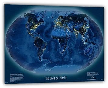 Weltkarte Die Erde Bei Nacht 118x84 Cm Deutsch Amazonde Küche