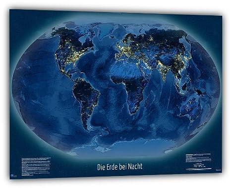 Lichtverschmutzung Karte Welt.J Bauer Karten Weltkarte Die Erde Bei Nacht 100x70 Cm Deutsch