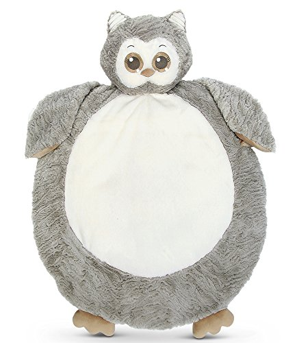 Bearington Baby Lil' Owlie Belly Blanket, Gray Owl Plush Stuffed Animal Tummy Time Play Mat ()