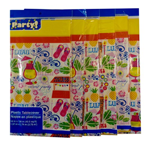 Bulk Buy: Luau Tiki Time Island Party Plastic Table Covers, 54'' X 108'', Pack of (6) by Party!
