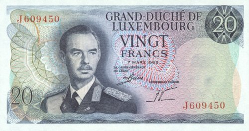 Luxembourg 1966 20 Francs, Pick 54a Francs Pick
