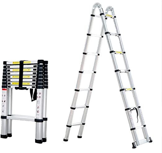 Folding ladder Escalera telescópica de aleación de Aluminio Marco de Escalera Plegable Nivel de Carga de 150 kg 3 Niveles Ajustables con diseño Antideslizante diseño de Seguridad humanizado: Amazon.es: Hogar