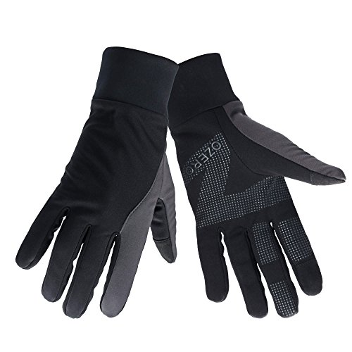 (OZERO Running Gloves for Women, Winter Warm Biking Glove for Smartphone Texting - Non-Slip Silicone Gel Palm & Insulated Thermal Cotton - Windproof & Waterproof for Running Driving - Black)