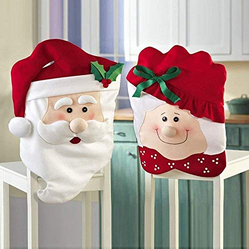 Kitchen Chair Slip Covers Featuring Mr & Mrs Santa Claus for Christmas Halloween Holiday Party Festival (Set of 2)]()