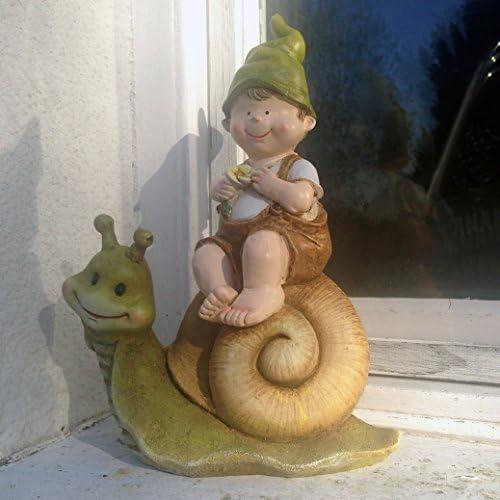 Troll Richard sur escargot Fée décoration de jardin Gnome Imp...