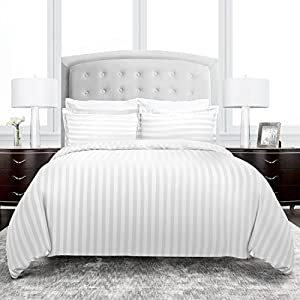 Beckham Hotel Collection Dobby Striped Duvet Cover Set - Luxury Soft Brushed Microfiber with Matching Shams - Hypoallergenic -Full/Queen - White