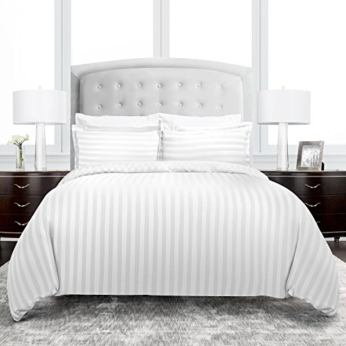 Beckham Hotel Collection Dobby Striped Duvet Cover Set - Luxury Soft Brushed Microfiber with Matching Shams - Hypoallergenic - King/California King - White