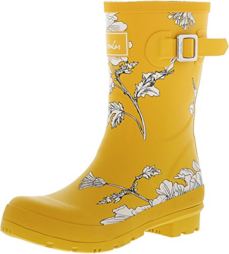 Antique Gold Footwear - Joules Womens Short Printed Welly Rain Boots, Antique Gold Flora,7 B(M) US